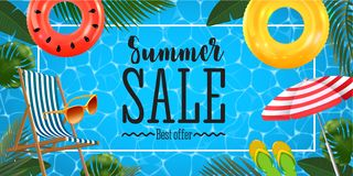 Summer sale banner with realistic inflatable rings, chaise lounge, sun glasses, beach umbrella and slates and tropical vector illustration