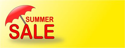 Summer Sale banner with red beach umbrella. For season summer sale in shops, stores, commerce, trade, business, traffic with sun shining on the parasol stock illustration