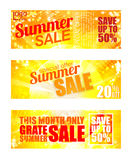 Summer sale banner set. Sunny text and colors Stock Photos