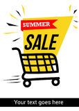 Summer sale banner with shopping trolley. Summer sale banner design with shopping trolley Stock Photo