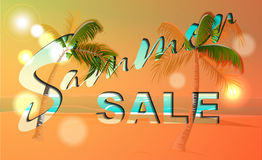 Summer sale banner template, discounts for your design. Vector illustration Royalty Free Stock Photos