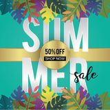 Summer sale banner template trendy season advertising and promotion background with exotic leaves decoration 3d paper cut style. Illustration vector design royalty free illustration