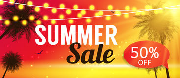 Summer Sale Banner Template for your Business. Vector Illustrati Stock Image