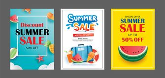 Summer sale banner templates. Paper art and craft style. Vector. Illustrations for email, newsletter, website, mobile ads, discount, coupon,poster Royalty Free Stock Photos