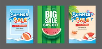 Summer sale banner templates. Paper art and craft style. Vector. Illustrations for email, newsletter, website, mobile ads, discount, coupon,poster Royalty Free Stock Photography
