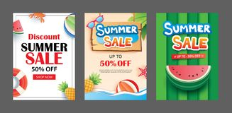 Summer sale banner templates. Paper art and craft style. Vector. Illustrations for email, newsletter, website, mobile ads, discount, coupon,poster Royalty Free Stock Image