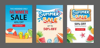 Summer sale banner templates. Paper art and craft style. Vector. Illustrations for email, newsletter, website, mobile ads, discount, coupon,poster Stock Photo