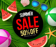 Summer sale banner with text in palm leaves background. With colorful vector elements for summer season marketing promotion. Vector illustration Royalty Free Stock Photo