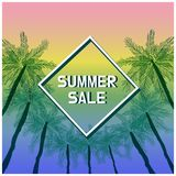 Summer sale banner with tropical colored background . vector illustration