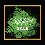 Summer sale banner with tropical leaves with gild frame on the black vector illustration