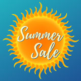 Summer sale banner. Vector illustration on blue background Royalty Free Stock Images