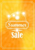 Summer sale banner on a yellow background. With white lettering with the glow, flowers in summer colours Royalty Free Illustration