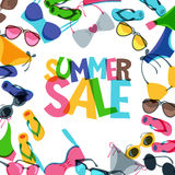 Summer sale banners with colorful hand drawn sunglasses, swimsuits and flip flops. stock illustration