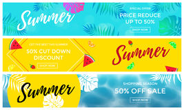 Summer sale banners of fruits and palm leaf vector online shopping flyer. Summer sale promo discount or price cut off 50 percent banners set. Palm leaf Stock Photos