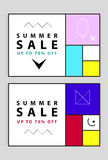Summer sale banners. Memphis and mondrian style. Vector illustration. Simple forms. The golden section Royalty Free Stock Photography