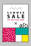 Summer sale banners. Memphis and mondrian style. Vector illustration. Simple forms. The golden section Royalty Free Stock Photo
