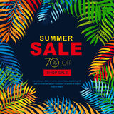 Summer sale banners with multicolor coconut palm leaves. Vector tropical posterblack  background. Royalty Free Stock Image