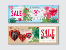 Summer Sale banners set. Sale Discount Summer banner, flyer template set with beautiful 3D heart balloons, futuristic frame, lettering. Tropical palm tree leaves Royalty Free Stock Photos