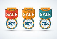 Summer sale banners set. Special offer, discount templates. Up to 30, 50, 70 percent off. Vector illustration Royalty Free Stock Photography