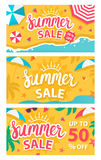 Summer sale banners set. Vector illustration Royalty Free Stock Photography