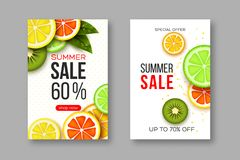 Summer sale banners with sliced citrus and kiwi pieces, leaves and dotted pattern. White background - template for. Seasonal discounts. Vector illustration Stock Images