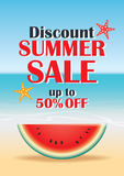 Summer sale beach and watermelon background banner template. Vou Royalty Free Stock Photos