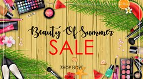 Summer sale with beauty and cosmetics background Royalty Free Stock Image