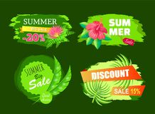 Summer Sale Best Choice Tags Discount Emblem Set. Summer big sale best choice tags discount sale 15 20 percent off set of promo labels tropical summertime plants stock illustration