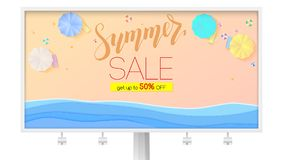 Summer sale. Billboard with seashore, sandy beach, sun umbrellas, top view. Get up to fifty percent discount. Vacation. On sea beach. Summer discount offer royalty free illustration