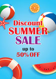 Summer sale blue background banner template. Voucher discount pr. Omotion Stock Images