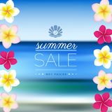 Summer Sale, blurred sea background with flowers Royalty Free Stock Images