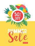 Summer sale. Bright colorful advertising poster. Colorful umbrella, tropical leaves and fruit. Illustration in cartoon style. vector illustration