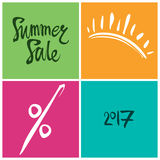 Summer Sale. 2017. Summer Sale. Bright squares information poster. 2017 Stock Photo