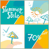 Summer Sale. 70%. Bright squares information poster. Vector template for advertising design Stock Photos