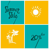 Summer Sale.20%. Bright turquoise and yellow squares information poster Stock Photo