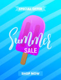 Summer sale card, advertisement, banner, poster etc. Background with lettering, trendy stripes and ice cream Royalty Free Stock Photo