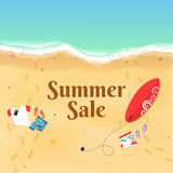Summer Sale. Cartoon sea beach. Top view of the beach. Accessories, clothes and a surfboard on the sandy beach. Beautiful text on Royalty Free Stock Photo
