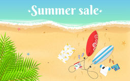 Summer Sale. Cartoon sea beach. Top view of the beach. Accessories, clothes and surfboards on a sandy beach. White text on the wat Stock Photography