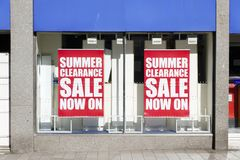 Summer sale clearance shop window sign banner high street shopping mall stock photo