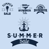 Summer sale clearance vector badges some shopping hand drawn. Summer sale logo clearance element vector advertising badges isolated. Some shopping big mega hand Stock Photos
