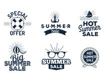 Summer sale clearance vector badges some shopping. Summer sale logo clearance element vector advertising badges isolated. Some shopping big mega hand drawn Stock Images