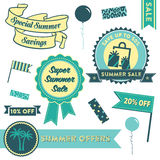 Summer Sale Clipart. Modern design elements promoting a Summer sale with badges, decorative elements and icons Royalty Free Stock Image