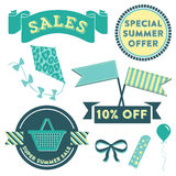 Summer Sale Clipart. Modern design elements promoting a Summer sale with badges, decorative elements and icons Royalty Free Stock Photography
