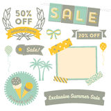 Summer Sale Clipart. Modern design elements promoting a Summer sale with badges, decorative elements and icons Royalty Free Stock Photos