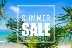Summer sale, clouds, palms and sea. Royalty Free Stock Photo