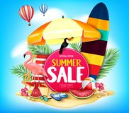 Summer Sale in Cloudy Blue Background with Realistic Toucan, Flamingo Stock Images