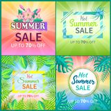 Summer Sale Set of Banners Vector Illustration. Summer sale collection posters with headlines, summertime set of banners, royal fern and rubber fig tree leaf Stock Photos