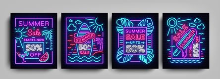 Summer sale collection posters in neon style. Set neon signs Summer sales, Design template Summer discounts, light Stock Photo