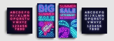 Summer Sale collection vertical banners design template vector. Neon sign, modern trend design, neon style webbanner Royalty Free Stock Image
