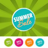 Summer sale color banner and 10%, 20%, 30% & 40% Off Marks. Vector illustration. Summer sale color banner and 10%, 20%, 30% & 40% Off Marks. Eps10 Vector Stock Photos